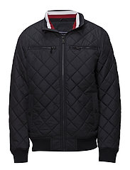 STRIPED RIB QUILTED BOMBER - 413-SKY CAPTAIN
