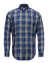 MIDSCALE HEATHERED CHECK SHIRT - BLUE DEPTHS HTR / COLONY BLUE