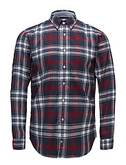 CHECKED HERRINGBONE SHIRT - MEDIEVAL BLUE / HAUTE RED