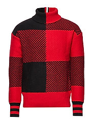 BUFFALO CHECKED OVERSIZED SWEATER - HAUTE RED