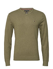 PIMA COTTON CASHMERE VNECK - DUSTY OLIVE HEATHER