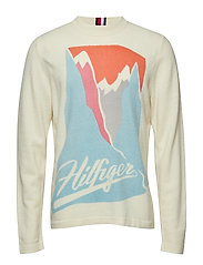 PRINTED BRUSHED CNECK SWEATER - SNOW WHITE HEATHER