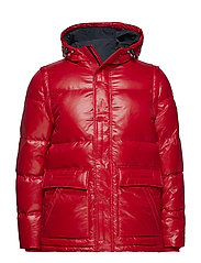 SHINY HOODED DOWN BOMBER - HAUTE RED