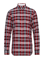 OXFORD CHECK SHIRT, - GOJI BERRY / MULTI