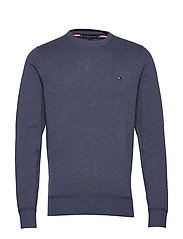 ORGANIC COTTON SILK CREW NECK - FADED INDIGO HEATHER