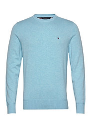 ORGANIC COTTON SILK CREW NECK - SAIL BLUE HEATHER