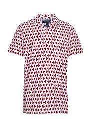 BOLD GEO PRINT SHIRT - BRIGHT WHITE / HAUTE RED
