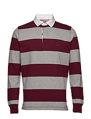 ICONIC BLOCK STRIPE RUGBY - CLOUD HEATHER  / TAWNY PORT