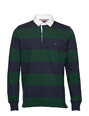 ICONIC BLOCK STRIPE RUGBY - SKY CAPTAIN / PINE GROVE
