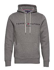 TOMMY LOGO HOODY - SILVER FOG HEATHER
