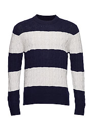 BLOCK STRIPED CABLE SWEATER - SKY CAPTAIN