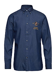 DENIM EMBROIDERY SHIRT - DARK DENIM