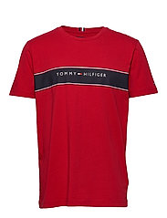 LOGO CHEST STRIPE TE - PRIMARY RED