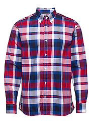 FLEX BRIGHT MIDSCALE CHECK SHIRT - PRIMARY RED / PHTHALO BLUE / M