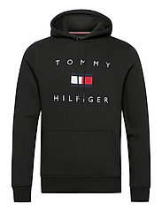TOMMY FLAG HILFIGER HOODY - BLACK