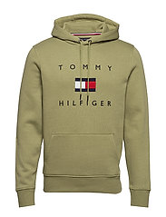 TOMMY FLAG HILFIGER HOODY - FADED OLIVE
