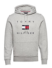 TOMMY FLAG HILFIGER HOODY - MEDIUM GREY HEATHER