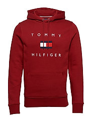 TOMMY FLAG HILFIGER HOODY - REGATTA RED