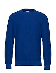 BOLD TEXTURED COTTON SWEATER - COBALT