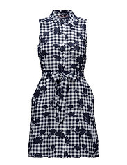 HILLARY DRESS NS - TROPHY FLORAL OVERPRINT GINGHA