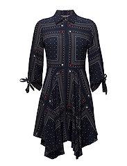 HOGGAN DRESS 3/4 SLV - PATCHWORK BANDANA PRT / NAVY B