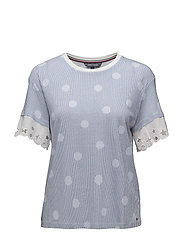 ABNER C-NK LACE TOP - OVERSIZED OVERPRINTED POLKA DO