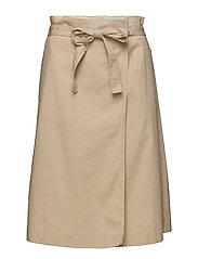 JENA HW WRAP MIDI SKIRT - WARM SAND