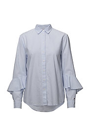 PAMES FRILL BLOUSE LS - ITHACA STP / HEATHER