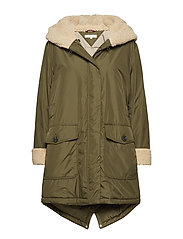 ALANA TEDDY LONG PARKA - OLIVE NIGHT