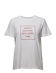 LENNY C-NK TEE SS - CLASSIC WHITE / FLAME SCARLET