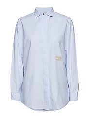 TOMMY ICONS PAMES BOYFRIEND SHIRT LS - CLASSIC WHITE / SHIRT BLUE STR