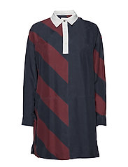 TOMMY ICONS RUGBY SILK DRESS LS - ICON  DIAGONAL STP / SKY CAPTA