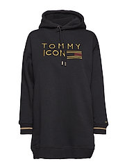 TOMMY ICONS NOELLE HOODED DRESS LS - BLACK BEAUTY
