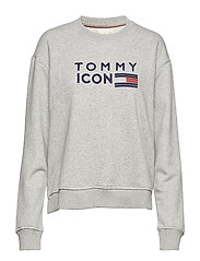 TOMMY ICONS LANE C-NK LS - LIGHT GREY HTR
