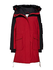 TOMMY ICONS COLORBLOCK PARKA - BLACK BEAUTY / RED