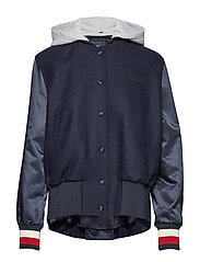 MINDY WOOL BLEND COMBO BOMBER - SKY CAPTAIN
