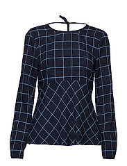 HARPER BLOUSE LS, 46 - WINDOWPANE / MIDNIGHT