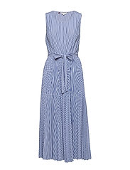 DAISY MIDI DRESS NS, - ITHACA PLEAT STP / DEEP ULTRAM