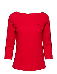 TESSA BOAT NK TEE 3/4 SLV - TRUE RED