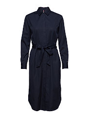 TH ESSENTIAL MIDI SHIRT DRESS LS - MIDNIGHT