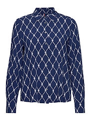 DANEE BLOUSE LS - THC MONOGRAM PRT / BLUE INK