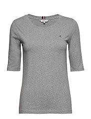 TH ESS SLD ROUND-NK 1/2 SLV - LIGHT GREY HEATHER