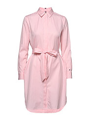 TH ESSENTIAL SHIRT DRESS LS - YD WE STP / PINK GRAPEFRUIT