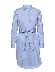 TH ESSENTIAL SHIRT DRESS LS - YD WE STP / COPENHAGEN BLUE