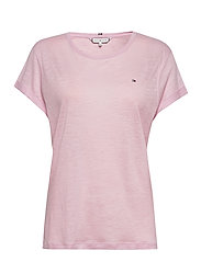 VIKKI ROUND-NK TOP SS - FROSTED PINK