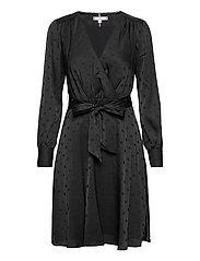 POLKA DOT FIT&FLARE WRAP DRESS - BLACK