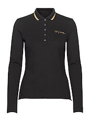 SLIM LUREX POLO LS - BLACK