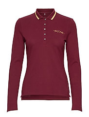 SLIM LUREX POLO LS - DEEP ROUGE