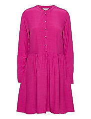 VISCOSE CDC ABOVE KNEE DRESS LS - FUCHSIA