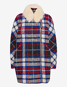 TARTAN LONG BIKER JKT - wool jackets - snow white / multi